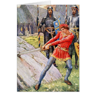 King Arthur draws the sword from the Stone Greeting Cards