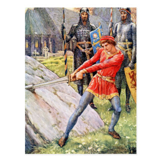 King Arthur draws the sword from the Stone Post Cards