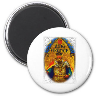 King Arthur Enthroned 2 Inch Round Magnet