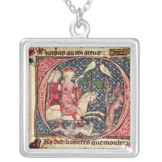 King Arthur Hunting, from the 'Romance of Merlin' Square Pendant Necklace