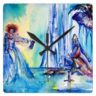KING ARTHUR ,LADY OF THE LAKE AND EXCALIBUR SQUARE WALLCLOCKS