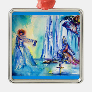 KING ARTHUR ,LADY OF THE LAKE AND EXCALIBUR METAL ORNAMENT