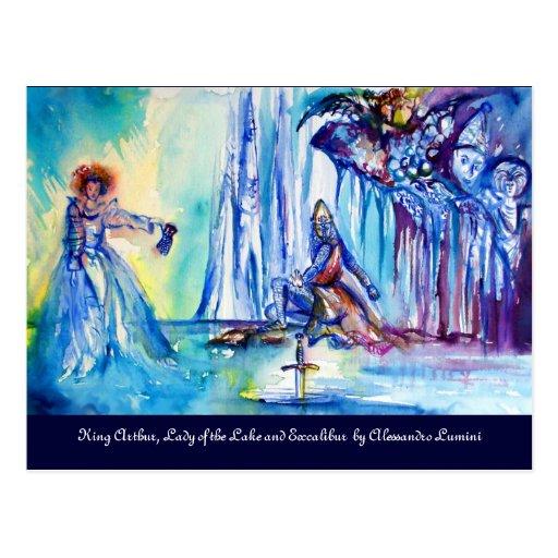 KING ARTHUR, LADY OF THE LAKE AND EXCALIBUR POSTCARD