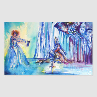 KING ARTHUR ,LADY OF THE LAKE AND EXCALIBUR RECTANGULAR STICKER