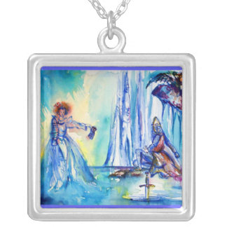 KING ARTHUR ,LADY OF THE LAKE AND EXCALIBUR SILVER PLATED NECKLACE