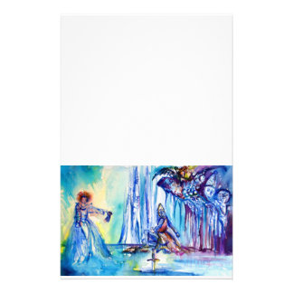 KING ARTHUR ,LADY OF THE LAKE AND pink purple blue Stationery