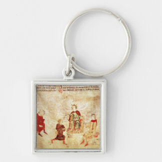 King Arthur on his Throne Surrounded Keychain