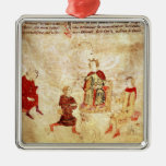King Arthur on his Throne Surrounded Christmas Ornament