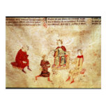 King Arthur on his Throne Surrounded Post Card