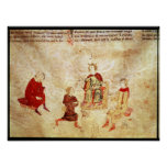 King Arthur on his Throne Surrounded Poster