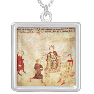 King Arthur on his Throne Surrounded Silver Plated Necklace