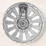 """King Arthur&#39;s Round Table Coaster<br><div class=""""desc"""">King Arthur&#39;s court with seats arranged in a circle for Lancelot, Gawain, Percival and the other Knights of the Round Table around a central rose blossom. &quot;Available on more products&quot; with the link to the right. ✪ Try our other stores on Zazzle: /Alchemical ⚗ Alchemy and Hermetic Arts /Mythological_Animals ♛...</div>"""