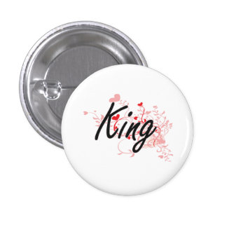King Artistic Job Design with Hearts 1 Inch Round Button