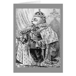 King Bear - Letter K - Vintage Teddy Bear Card