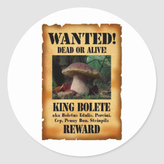 King Bolete - Wanted Dead or Alive Classic Round Sticker