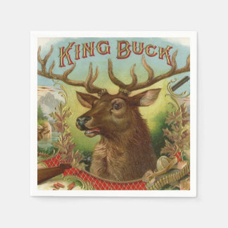 King Buck Label Deer Hunting Cabin Decor Taxidermy Disposable Napkin