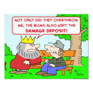 "king bums kept damage deposit overthrow 4.25"" x 5.5"" invitation card"