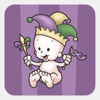 King Cake Baby Square Sticker