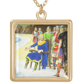 King Canute (c.995-1035) from 'Peeps into the Past Gold Plated Necklace
