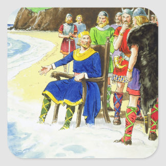 King Canute (c.995-1035) from 'Peeps into the Past Square Sticker