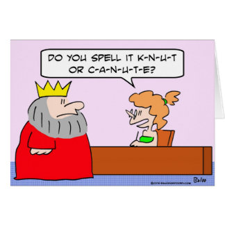king canute knut spell name card