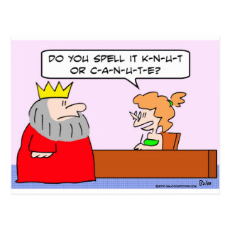 king canute knut spell name postcard