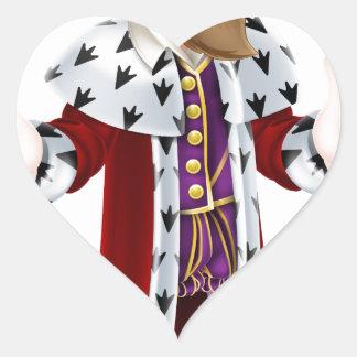 King Cartoon Mascot Heart Sticker