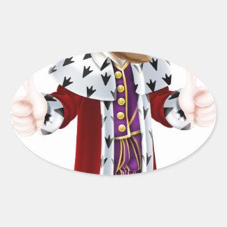 King Cartoon Mascot Oval Sticker