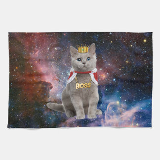 king cat in the space hand towel