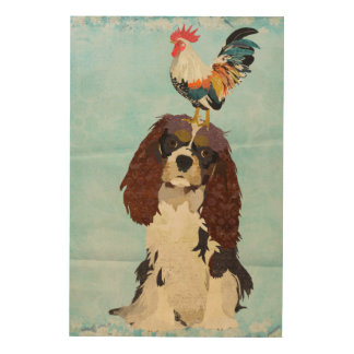 King Cavalier & Rooster Wooden Canvas Wood Wall Decor