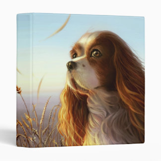 King Charles cavalier dog in autumn painting 3 Ring Binder