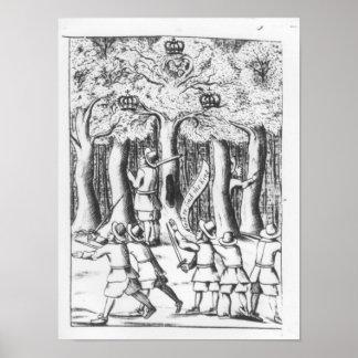 King Charles II  hiding in an oak tree Poster
