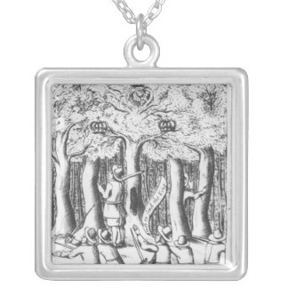 King Charles II  hiding in an oak tree Silver Plated Necklace