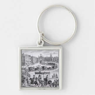 King Charles II Silver-Colored Square Keychain