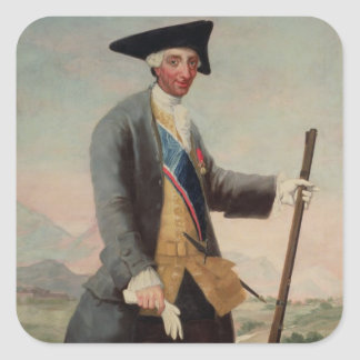 King Charles III (1716-88) as a Huntsman, 1786/88 Square Sticker
