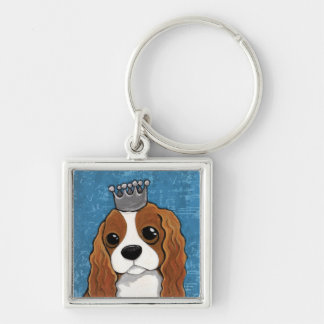 King Charles Spaniel | Dog Art Silver-Colored Square Keychain