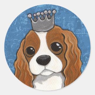 King Charles Spaniel Dog Illustration Classic Round Sticker