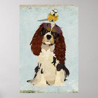 King Charles Spaniel & Little Bird Art Poster