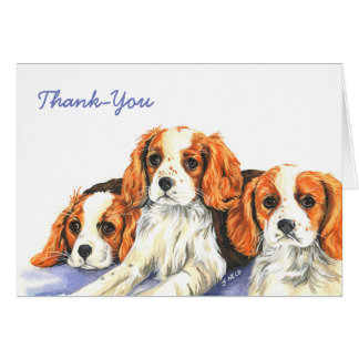 King Charles spaniel puppies Thank-You card
