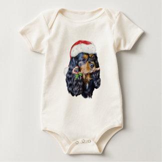 King Charles Spaniel Santa Baby Bodysuit