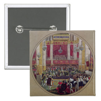 King Charles X  receiving the Knights 2 Inch Square Button
