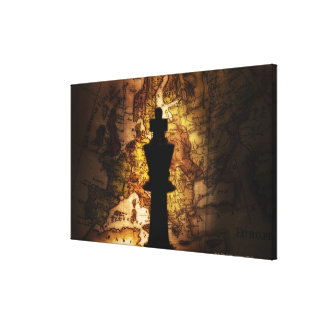 King chess piece on old world map canvas print