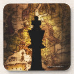 King chess piece on old world map coasters