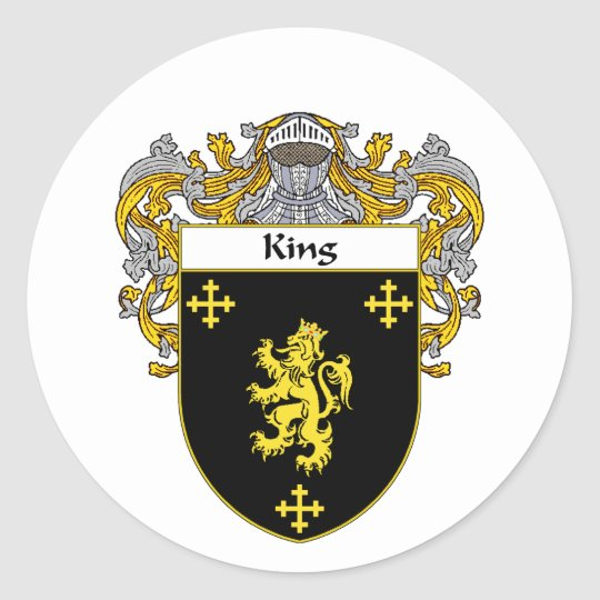 King Coat of Arms (Mantled) Classic Round Sticker