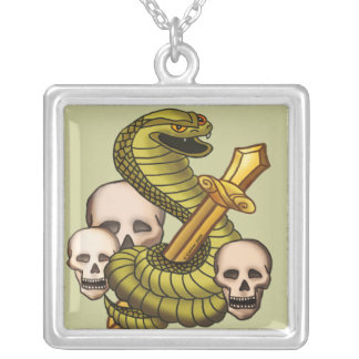 King Cobra Sword Silver Plated Necklace