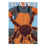 King Crab and Fisherman Vintage Travel Poster