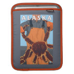 King Crab and Fisherman Vintage Travel Poster Sleeves For iPads