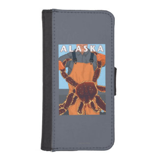King Crab and Fisherman Vintage Travel Poster iPhone 5 Wallets