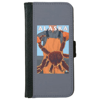 King Crab and Fisherman Vintage Travel Poster iPhone 6 Wallet Case