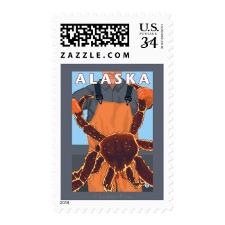 King Crab and Fisherman Vintage Travel Poster Postage